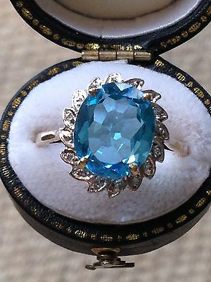Stunning Vintage Large Deep Blue Topaz and Diamond  Ring 9ct Y. Gold- Size R