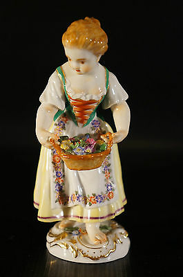 Antique Meissen Figurine Gardener childr. Girl with basket, Coloured, with gold