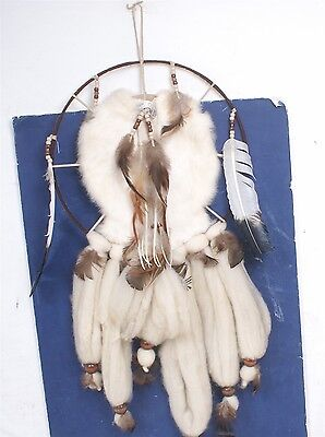 "Native American Handmade Rabbit Fur Feather 15"" X 30"" Dreamcatcher Dream Catcher"