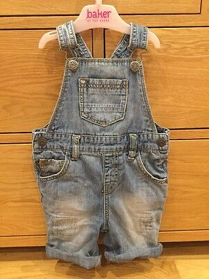 Boys Next Light Blue Denim Jeans Dungarees Shorts Age 2-3 Years Summer Holiday
