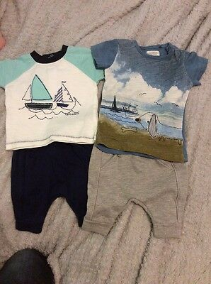 Baby Boys Next Jogging Bottom And Boat & Dog Tshirt Bundle Up To 1 Month