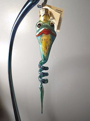 New Retired Slavic Treasures TWISTED TOAD BLUE Glass Frog Halloween Ornament