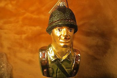 ALL YOU CAN BE U.S. Army Camo Soldier Slavic Treasures Glass Christmas Ornament