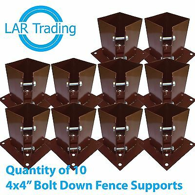 """Qty of 10 4""""x4""""/100x100mm Bolt Down Fence Post Support Holder Shoe Like Met Post"""