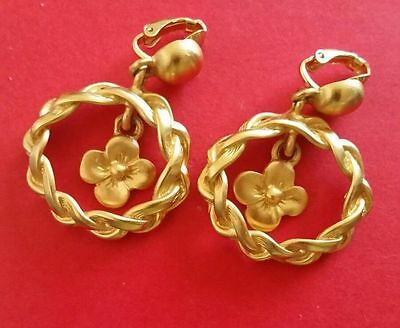 Anne Klein Goldtone Dangle Dogwood Flower Braid Rope Edge Clip On Earrings MINT