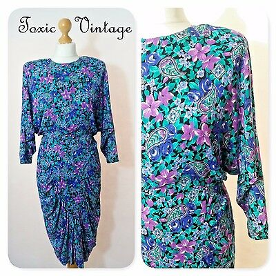 VINTAGE 1980's PURPLE PAISLEY & FLORAL DRAPE DETAIL DRESS, 10-12. RETRO, SUMMER