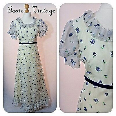 VINTAGE 1970's CREAM FLORAL MAXI DRESS 12-14 KITSCH CUTE PROM SUMMER RETRO CHIC