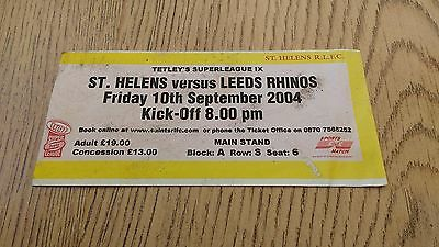 St Helens v Leeds Rhinos 2004 Used Rugby League Ticket