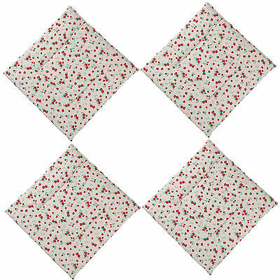 4 X Red Tie On Cotton Seat Pad Outdoor Dining Room Garden Kitchen Chair Cushion