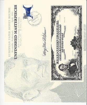Maastricht Ibns Fair 1994  Souv Bep Engraving Signed By U.s. Treasurer  Unc