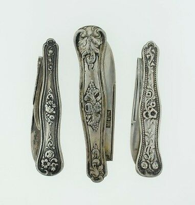Lot of 3 - Antique Sterling Floral Folding Pocket Purse Knife
