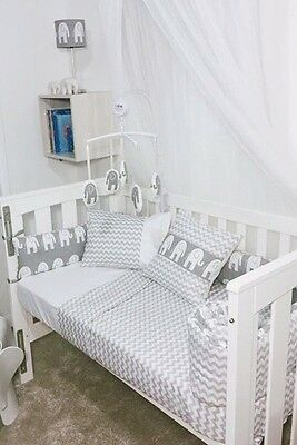 Unisex Grey White Chevron And Elephant baby cot bumper quilt set