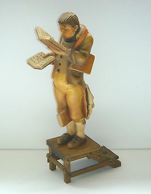 "Antique Hand Carved Wooden ""THE BOOKWORM"" Carl Spitzweg Figurine Highly Detailed"