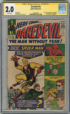 1964 Daredevil 1 CGC 2.0 Signed By Stan Lee Signature Series