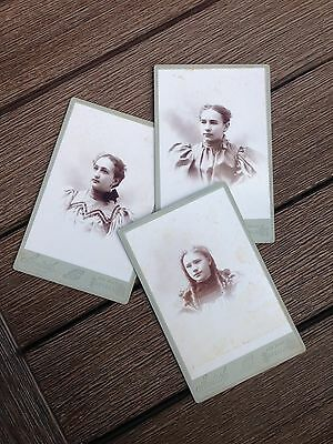 Lot of 3 Victorian Cabinet Cards - Sisters! Smith Photographer Buffalo, NY 1800