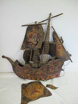 Vintage Ship Model Wood Canvas Leather Sails Pirate Mayflower? Clipper Repair