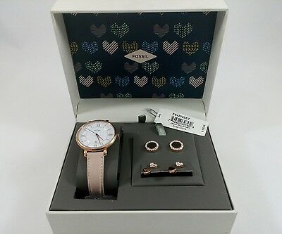 FOSSIL Rose Gold Jewelry Set (2 Earring Sets, Watch) NEW WITH TAGS NWT IN BOX