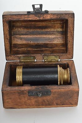 Rare Antique Pirate Marine Nautical Leather Wrapped Telescope In Wooden Chest
