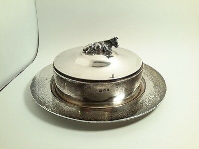 1923 GOLDSMITHS & SILVERSMITHS Co LTD STERLING BUTTER DISH. COW FINIAL