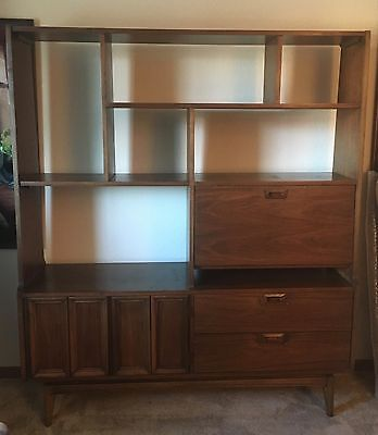Mid Century Modern Modular Wall Unit, Room Divider Bookcase hutch Walnut 1960's