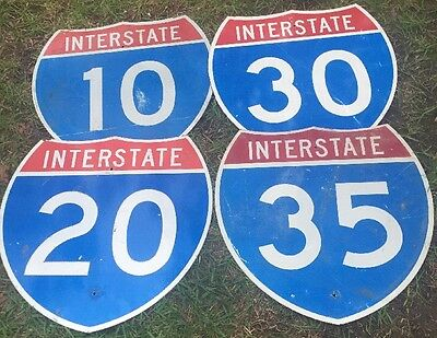 "Four Authentic Retired Interstate 10,20,30 & 35 SIGN Highway (24""x24"") Lot"