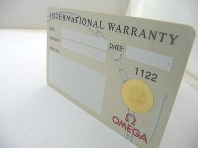 Omega Watch Original Warranty Card 1122 Like Nos !