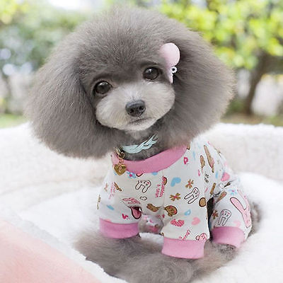 Pet Cotton Pajamas Dog Soft Clothes Puppy Jumpsuit Cute Shirt Coat Apparel XS