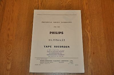 Philips EL 3556A/15 Tape Recorder Provisional Service Manual Vintage Manual