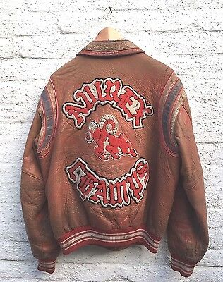 Vintage Avirex Usa All Stars Champs Leather Baseball Varsity Jacket 1990 Size M