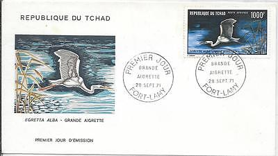 REPUBLIC OF CHAD; WHITE EGRET STAMP No. C84 FIRST DAY COVER