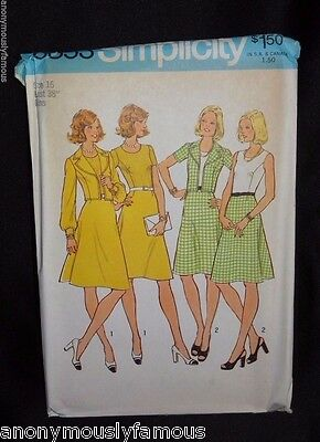 Vintage 1974 Simplicity 6853 Misses' Dress & Unlined Jacket 16 Sewing Pattern