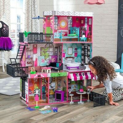 NEW KidKraft Brooklyn's Loft Wooden Dollhouse| 25 pieces | Doll Girl Kids