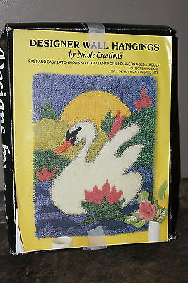 Latch Hook Kit Swan Lake Rug Hooking Nicole Creations Wall Hanging in Box