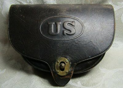 Civil War Rock Island Arsenal Leather Ammunition Case INITIALED
