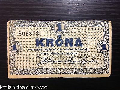 Iceland Old Banknote 1 Kronur L. 1885 -1900 P#18a Very Rare