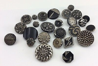 Nice Lot Of Antique & Vintage Black Glass Buttons W/ Silver Luster