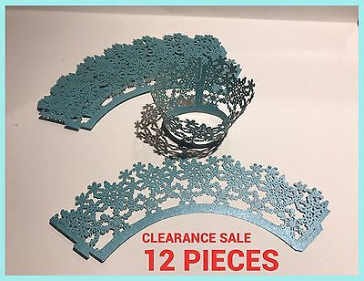 Paper Cupcake Muffin Wrap Wrappers Blue Snowflake Frozen Theme Lace Filigree