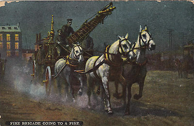 """1914  Montreal """"Fire Brigade Going to a Fire"""" Post Card with Horses and a Water"""