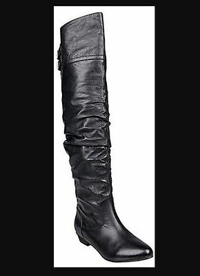 NEW Women's Steve Madden Caliko Black Leather Over the Knee Boots Size 7M