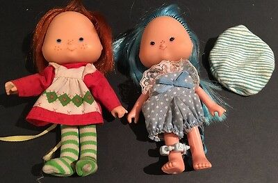 "2 Vintage 1979 Strawberry Shortcake & Blueberry American Greetings 5"" Dolls"