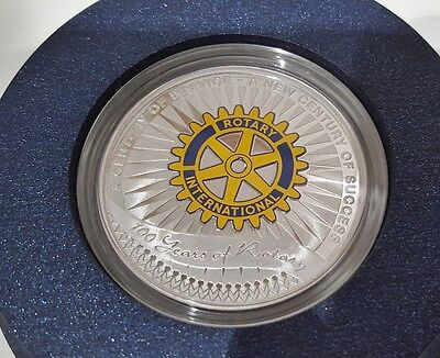 2005 $1 100 Years Of Int Rotary 10Z Silver Proof Coin