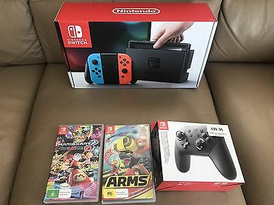 Nintendo Switch Neon Console Plus 2 Games And Pro Controller