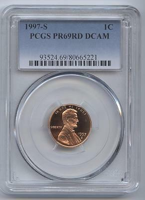 1997-S Lincoln Cent Pr69Rd Dcam Pcgs Proof 69 Red Deep Cameo