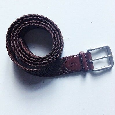Polo Ralph Lauren Men's Brown Braided Leather Square Ring Buckle Belt 48/120 New