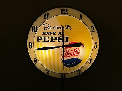 Vintage Double Bubble Lighted Clock Pepsi Advertising Like Pam Glass Sign Rare
