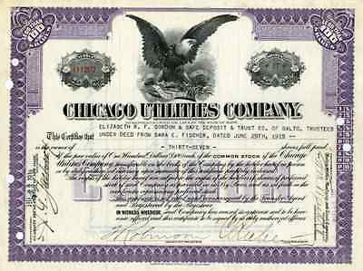 1915 Chicago Utilities Co Stock Certificate