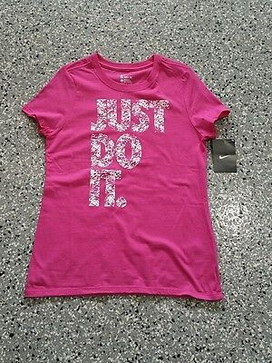 New Nike Youth Girls  Athletic Cut Graphic Hot Pink T-Shirt Tee Size: X-Large