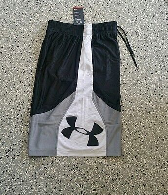 New Under Armour Mens Black Basketball Athletic Loose Fit Shorts Pants Sz: Large