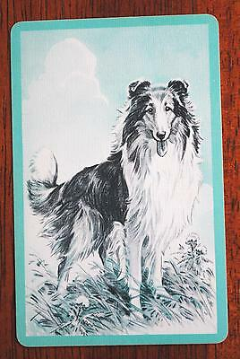 Dogs - Collie - Blue -Single Linen Deco Vintage Swap Playing Card