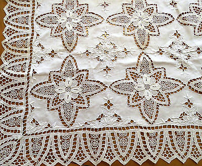 Antique Vintage Tablecloth White Linen Needle lace Embroidered Cutwork